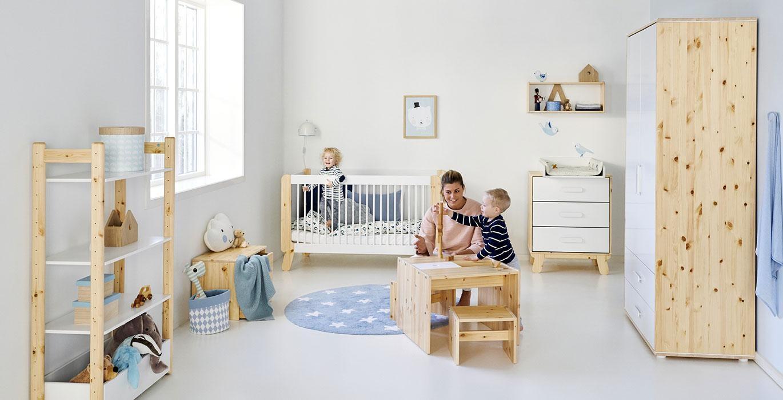 Chambre bébé lits bois evolutif flexa design scandinave belgique