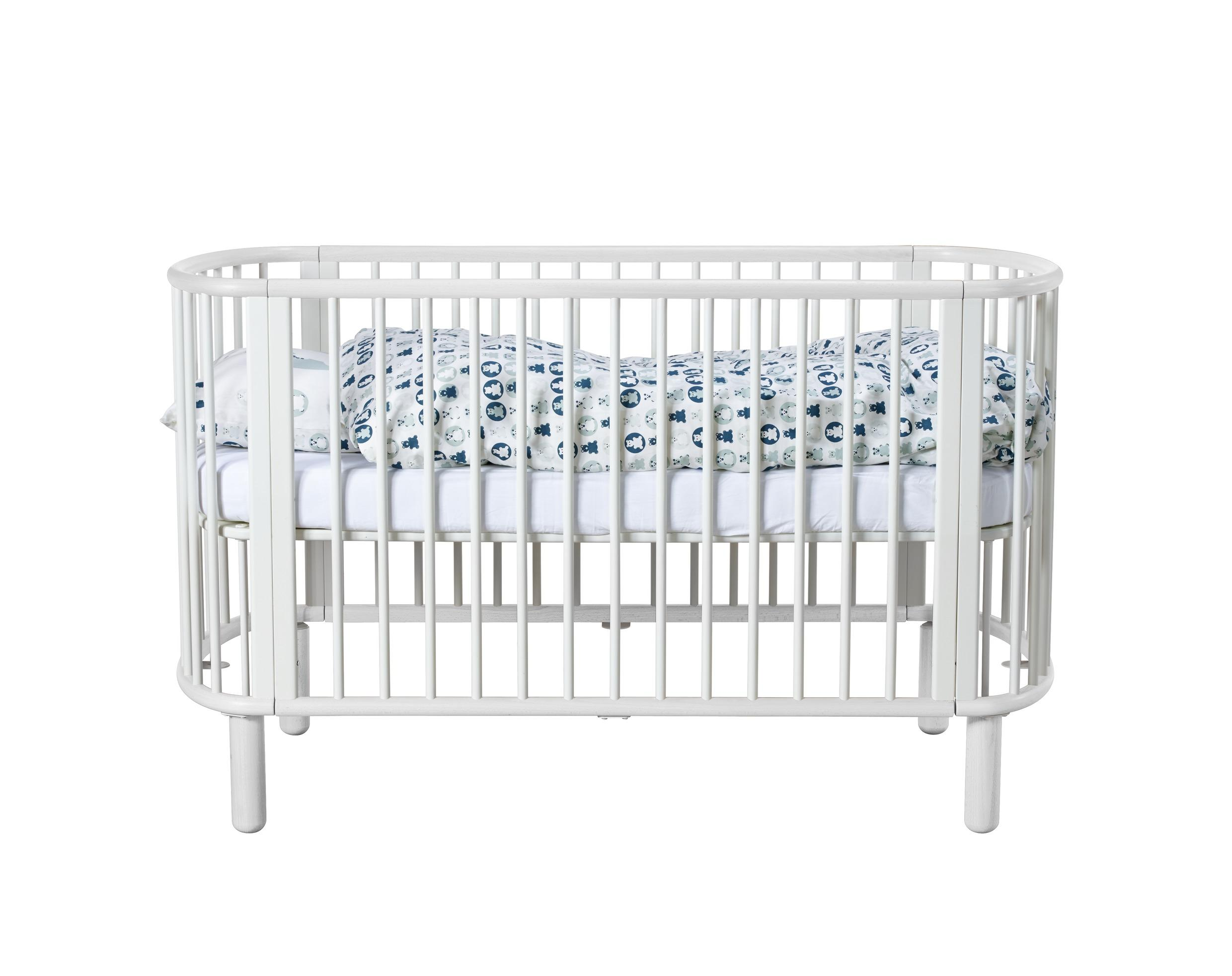 Lit b b volutif bois naturel chambre meubles flexa for Lit ovale bebe